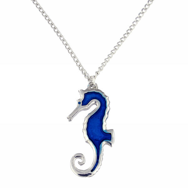 "St Justin - Blue enamelled sea horse pendant on an 18"" tin-plated or surgical steel curb chain"