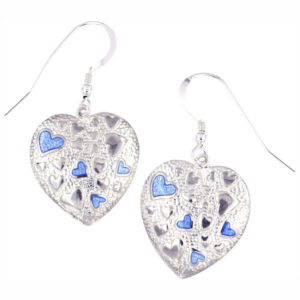 St Justin Silver multi heart enamelled drop earrings