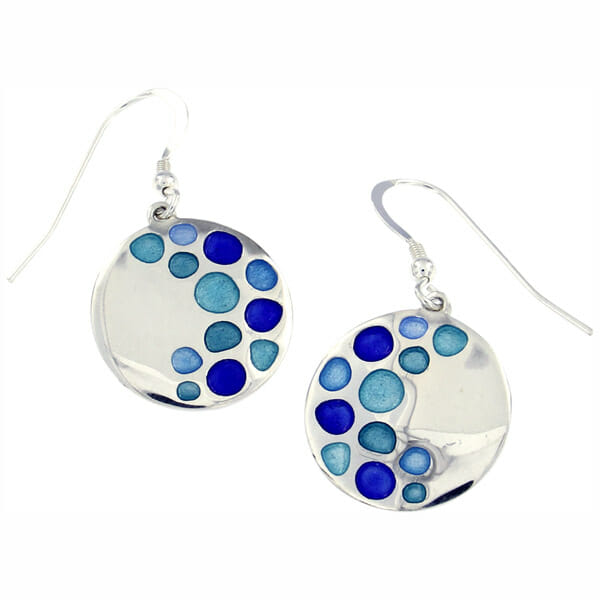 St Justin Silver Glas Mor Bay enamelled drop earrings