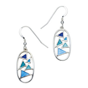 St Justin Silver Glas Mor Flotilla enamelled drop earrings