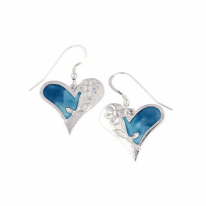 St justin Silver Kara heart and flower enamelled drop earrings
