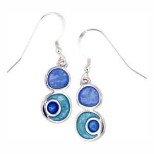 St Justin Silver Glas Mor Lagoon enamelled drop earrings