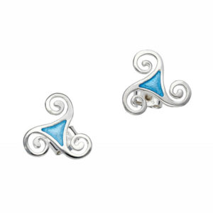 St Justin Sterling silver trisclele enamel stud earrings