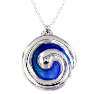 St Justin Silver Glas Mor Breakers enamelled pendant on 18 snake chain