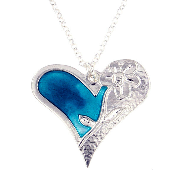 St justin Silver Kara heart and flower enamelled pendant