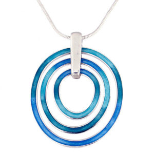 "St Justin Silver Glas Mor Ripples enamelled pendant on an 18"" Sterling silver snake chain"