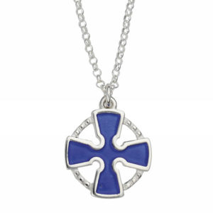 Silver blue enamel cross