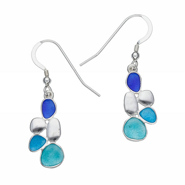 silver pebbles enamelled earrings