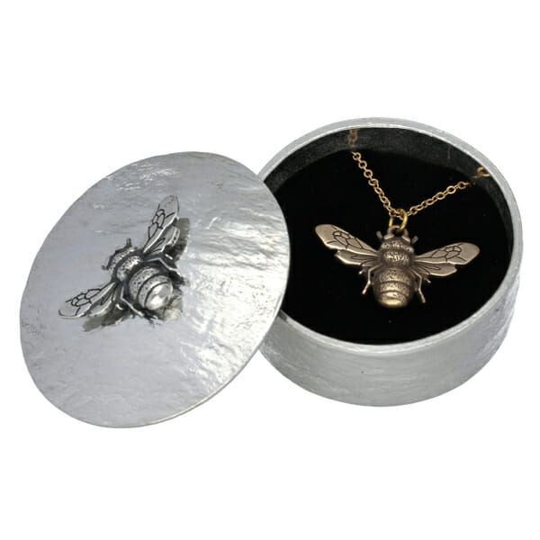 Bee trinket box with bronze bee pendant gift set
