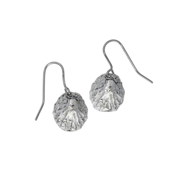 Limpet shell drop earrings – small pewter shells on stainless steel earwires.