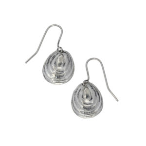 Shell drop earrings – highly polished small pewter shells on stainless steel earwires.