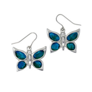 Butterfly enamelled drop earrings – beautiful pewter butterfly earrings with hand-enamelled wings. Come on surgical steel earwires.