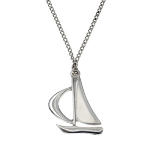"Large sail boat pendant – A lovely pewter sailing boat on a long 27"" tin-plated curb chain, ideal for wearing over your clothes."