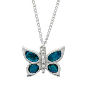"Butterfly enamelled pendant– beautiful pewter butterfly pendant with hand-enamelled wings. Comes on an 18"" tin-plated curb chain."