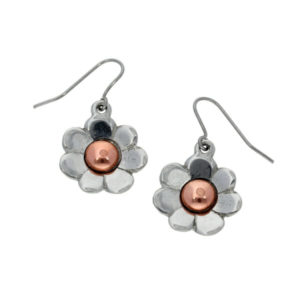 Copper bloom drop earrings pewter