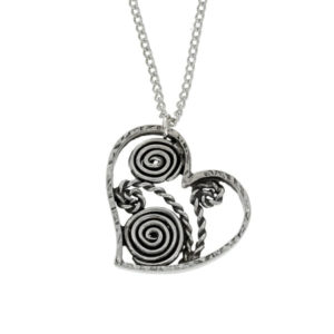 pewter heart and swirls pendant