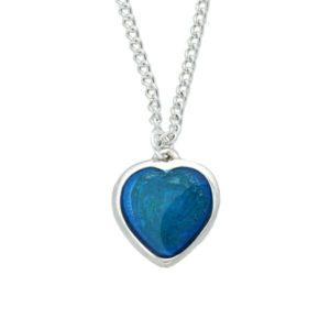Blue enamel heart pendant
