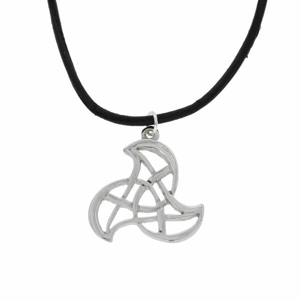 Triskelion pendant on leather thong
