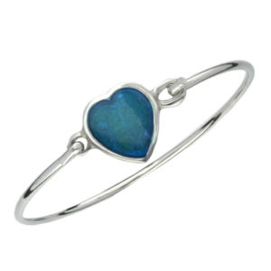 Blue enamelled heart clip bangle