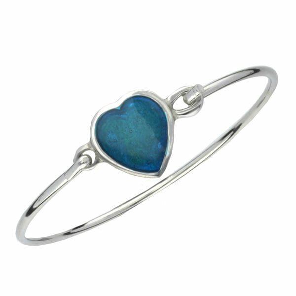 Blue enamelled heart clip bangle