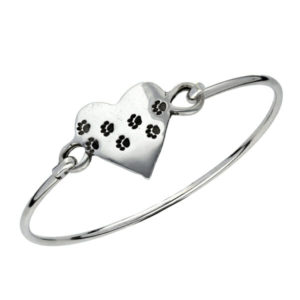 Pewter paw print heart clip bangle