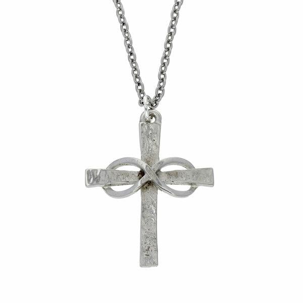 Infinity knot cross pendant