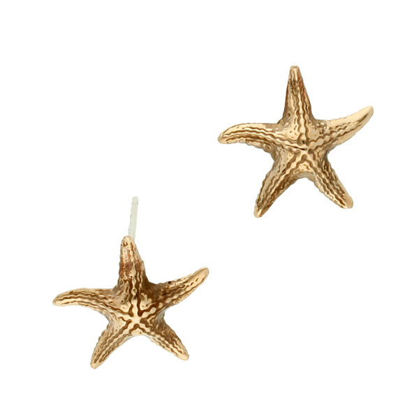 Bronze starfish stud earrings