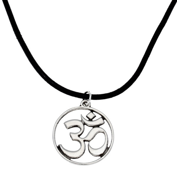 Om pendant on leather thong