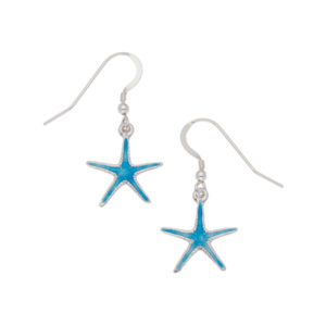 Silver enamelled starfish drop earrings