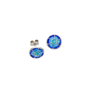 Silver Glas Mor Morgowles enamelled stud earrings