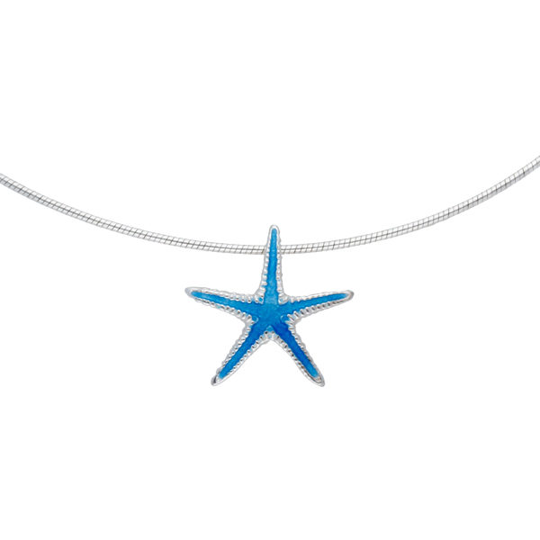 Silver enamelled starfish pendant