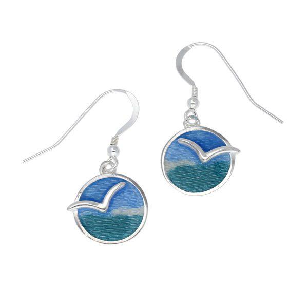Silver Glas Mor Mas dhe mor enamelled earrings