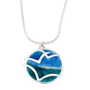 Silver Glas Mor Mas dhe mor enamelled pendant