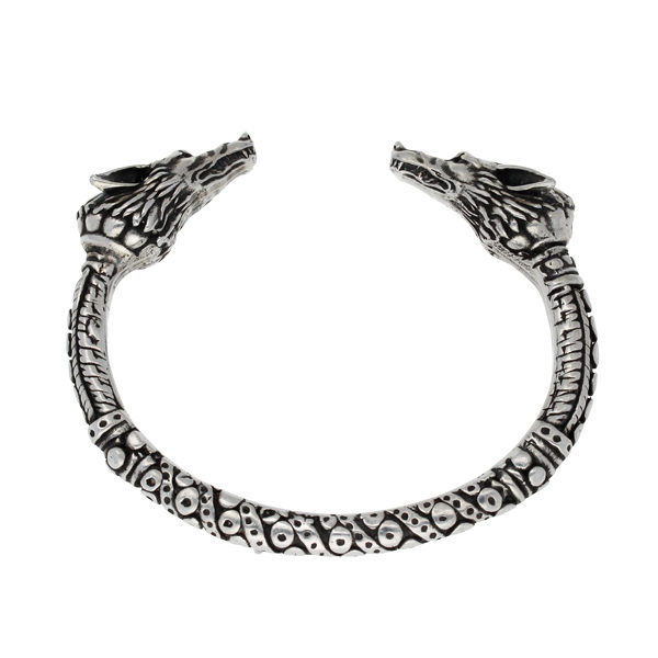 Wolf heads torc bangle