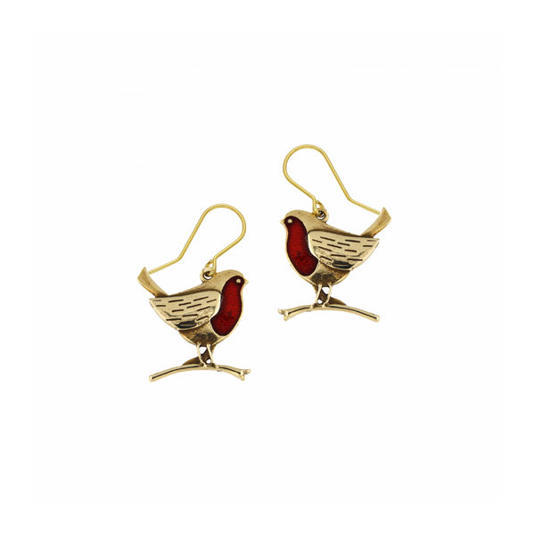 Bronze Robins on branches drop earrings