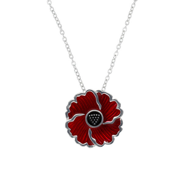 Cornish poppy pendant