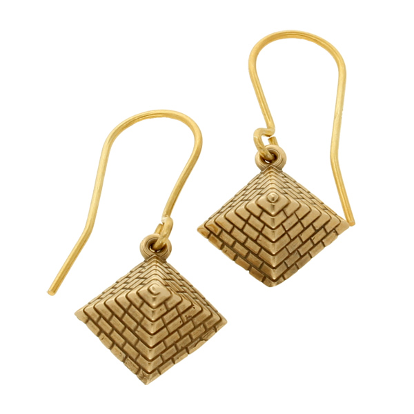 Bronze Egyptian pyramid earrings