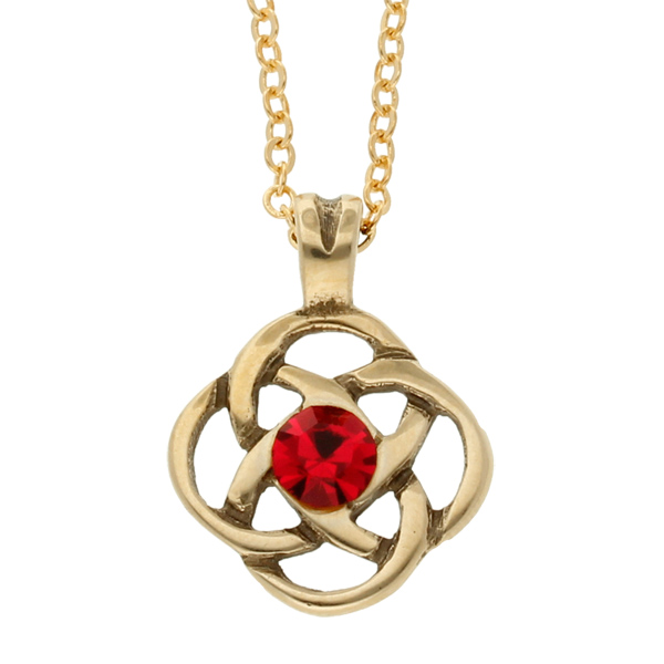 Bronze square knot red crystal pendant