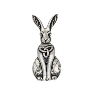 Pewter Celtic hare brooch