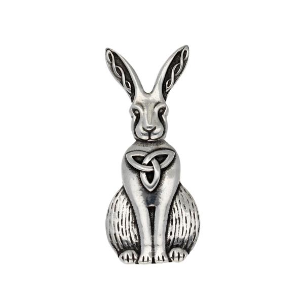 Pewter Celtic hare brooch