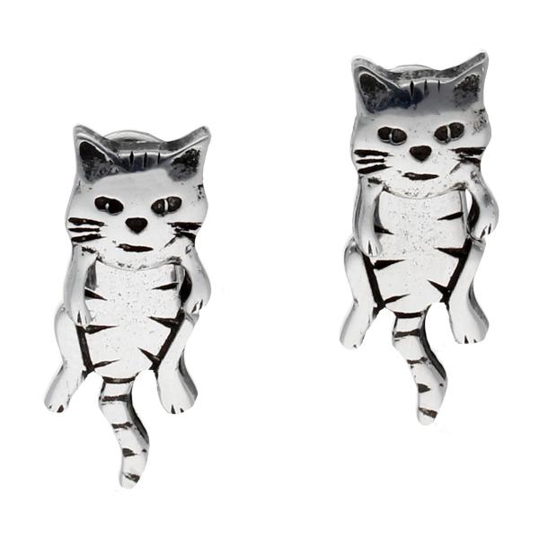Pewter dangle cat two part earrings