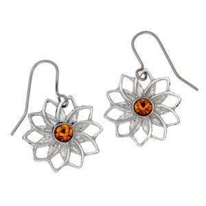 Pewter ten petal flower earrings