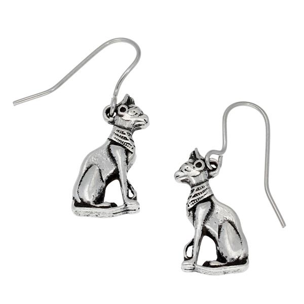 Pewter egyptian cat earrings