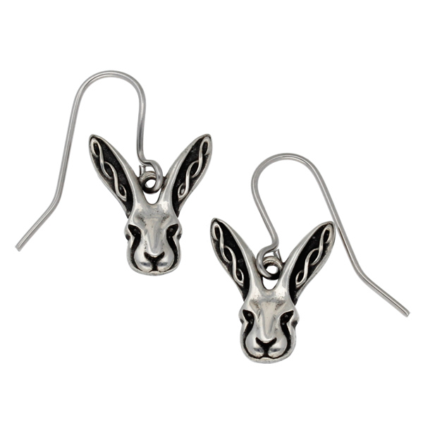 Pewter Celtic hare earrings