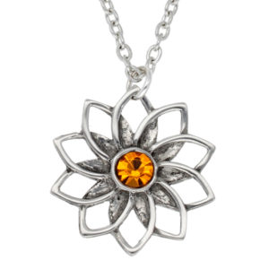 Pewter ten petal flower pendant with topaz