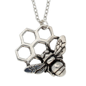 Pewter bee honeycomb pendant