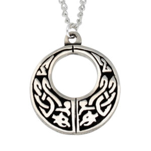 Pewter Celtic twin beasts pendant