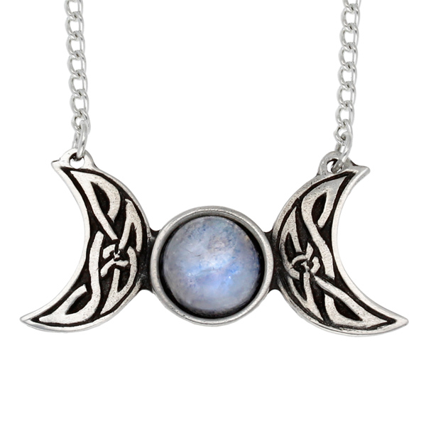 Pewter Celtic triple moon necklace