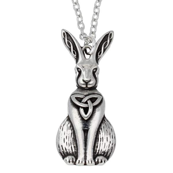 Pewter Celtic hare pendant