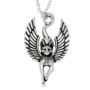 Pewter egyptian cat god pendant